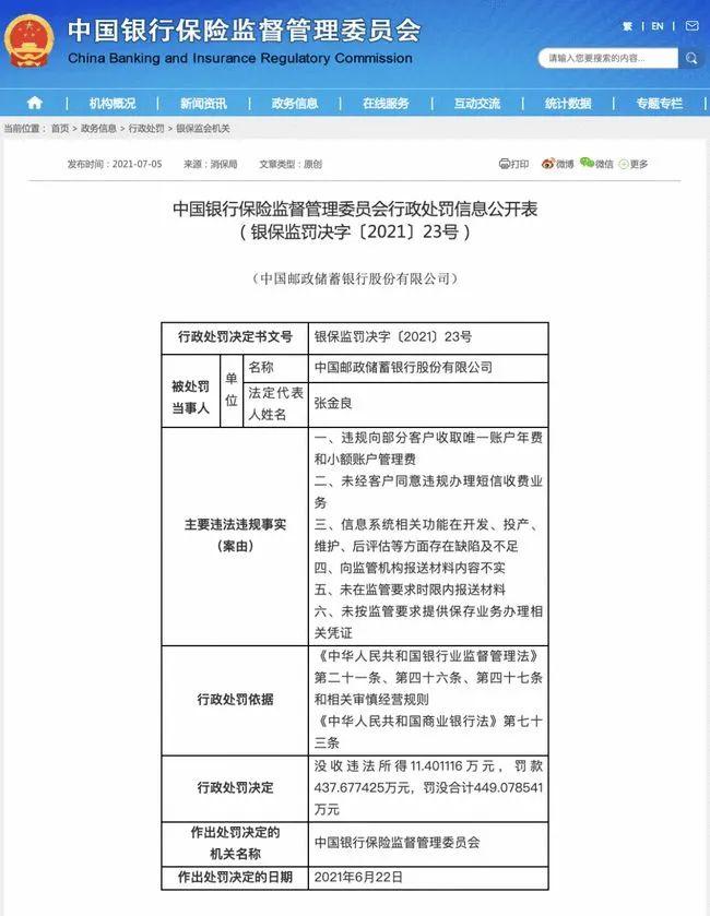 中国邮政银行乱收费谁来管「罚四百万」举报违法短信乱收费等情况